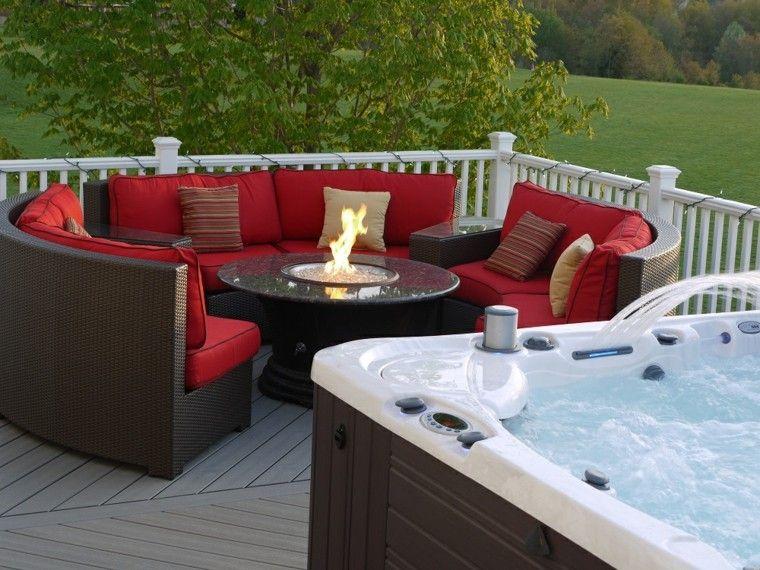 masaje sofa rojo plantas patio