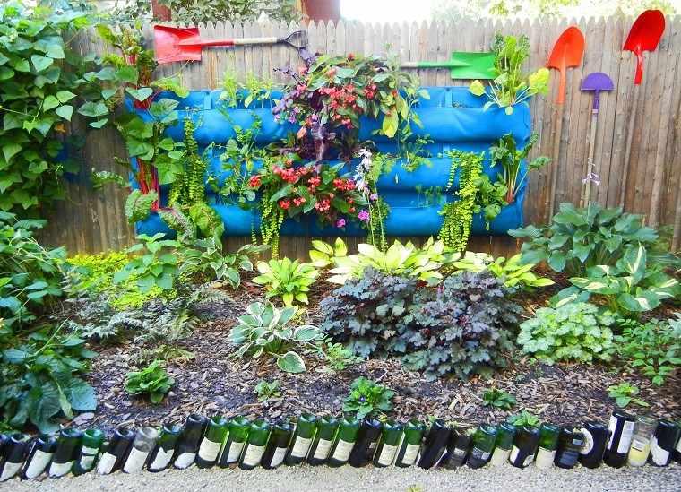 materiales caseros palas jardines verticales