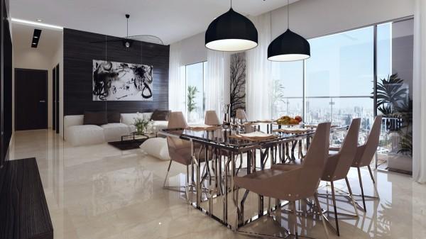 mesa alta cristal sillas marrones