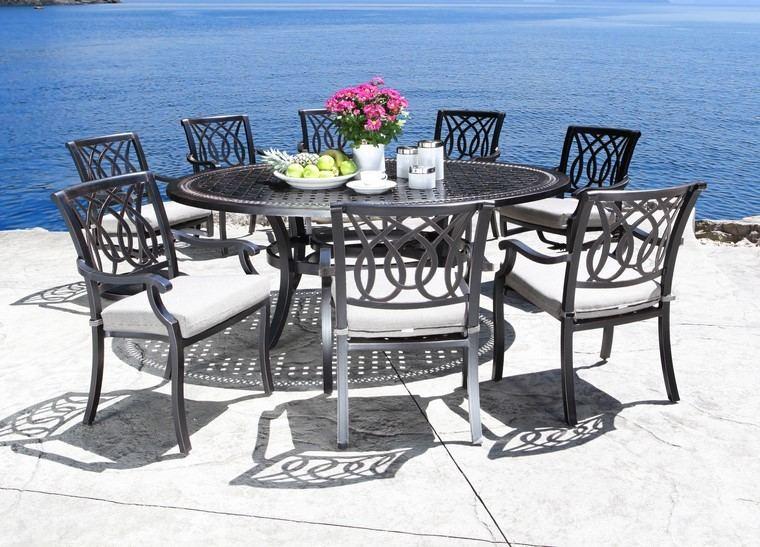 mesa alta sillas comidas piscina verano ideas
