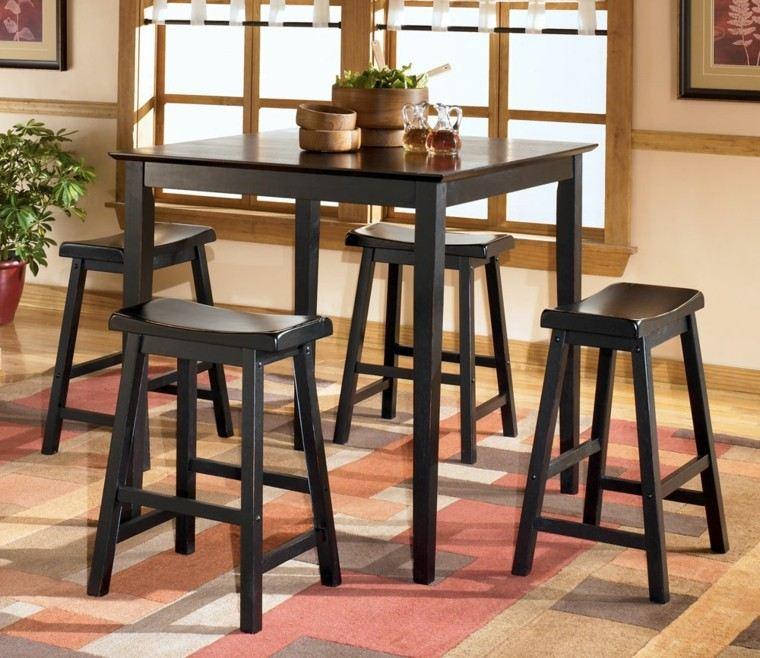 mesa alta sillas madera moderna idea interesante