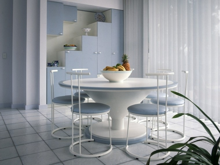 mesa ideas blanca azul claro sillas tapizadas