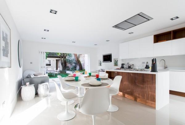 mesa blanca sillas blancas modernas