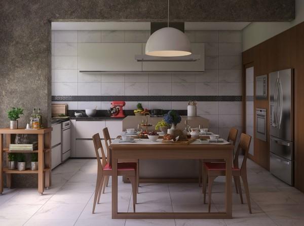 mesa cocina comedor laminado marron