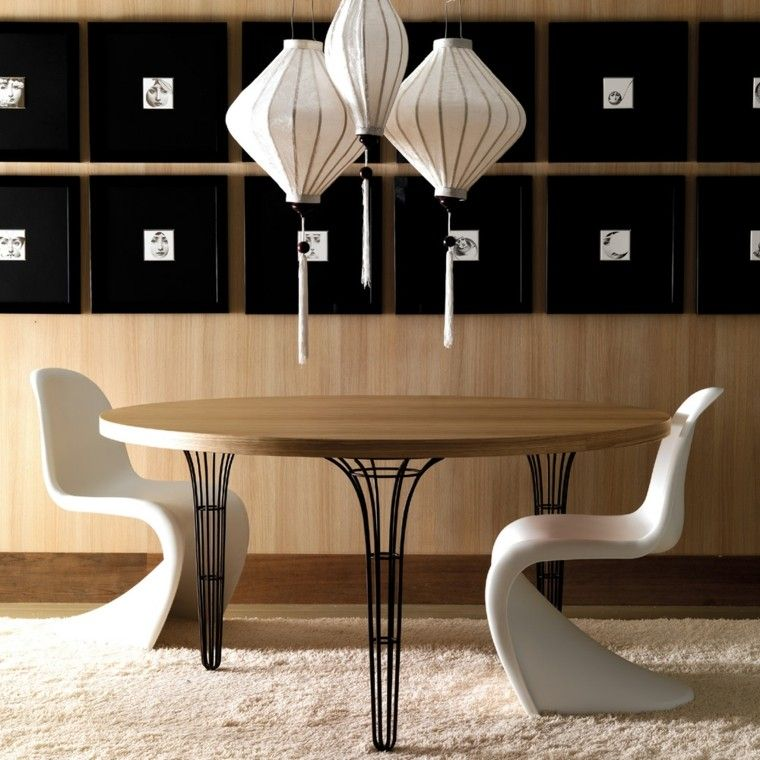 mesa comedor sillas modernas blancas