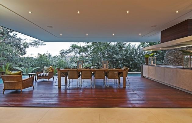 mesa comedor suelo madera terraza
