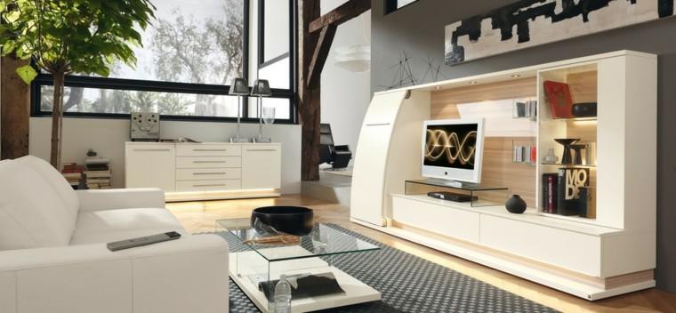 mesa cristal sofa blanca ideas originales moderno