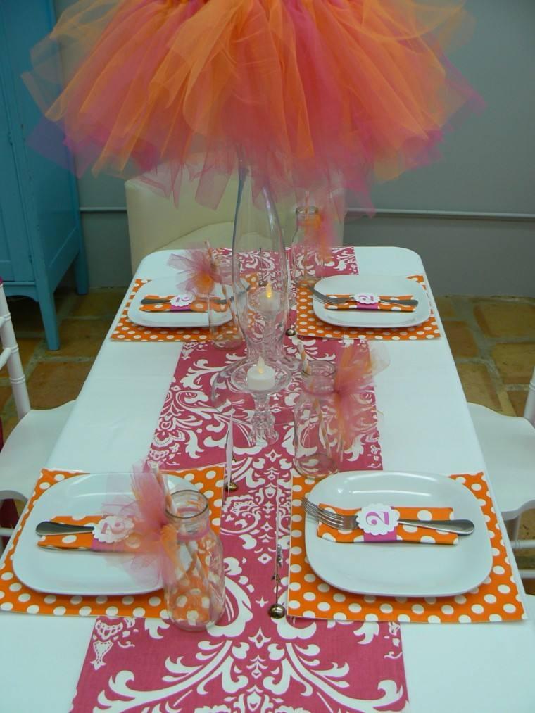 mesa decorada fiesta cumpleanos chica ideas naranja bonito