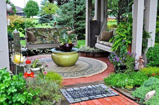 mesa interesante jardin moderno columpios bancos