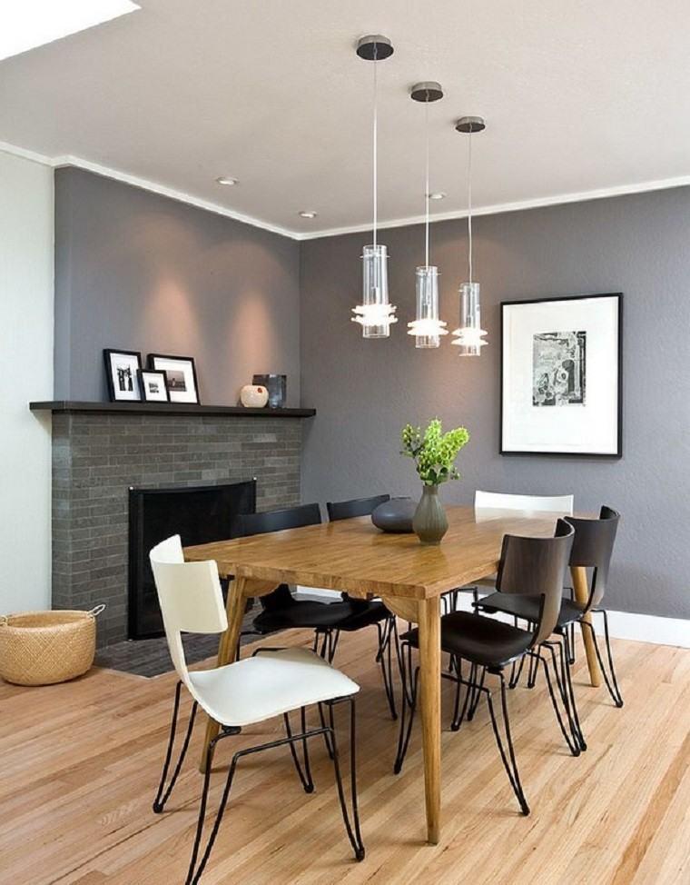 mesa madera lamparas cuadros minimalista