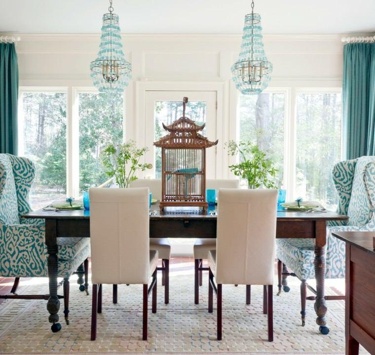 mesa madera sillas sillones colores moderna interesantes