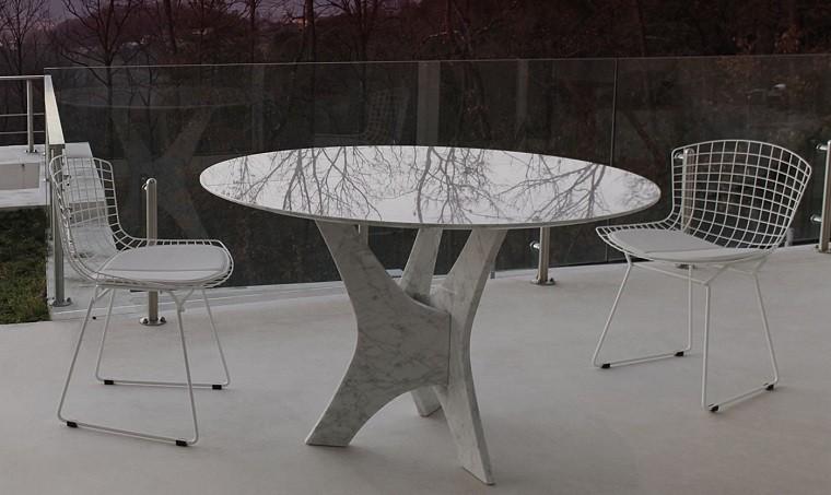 mesa marmol redonda estilo original jardin bonita