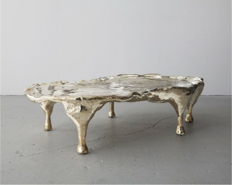 mesa moderna brillante salon patas