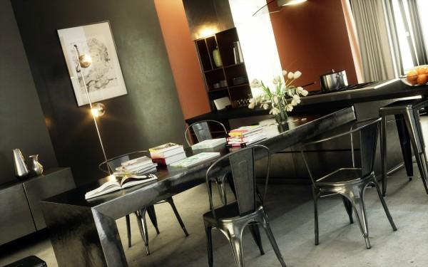 mesa negra rectangular comedor metal