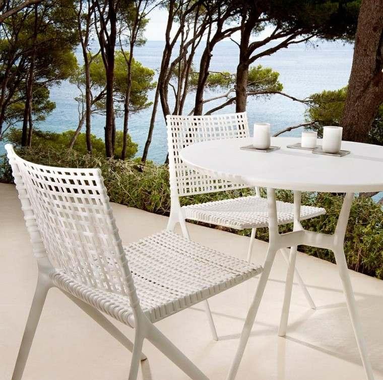 mesa pequeña acero blanca perfecta diseño exterior