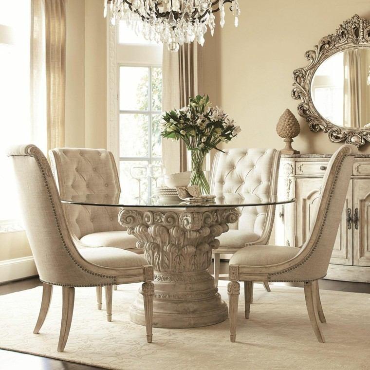 mesa pie precioso piedra tope cristal moderna sillas