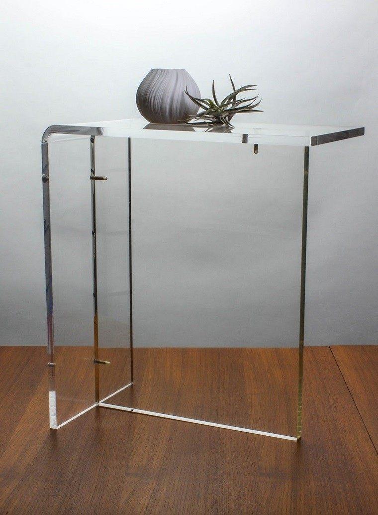 mesa plantas madera acrilico mueble