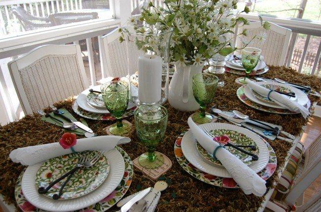 mesa porche jarra idea grande blanca flores primavera