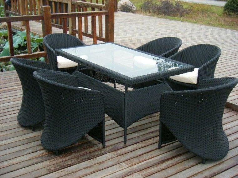 mesa ratana negra encimera cristal ideas modernas