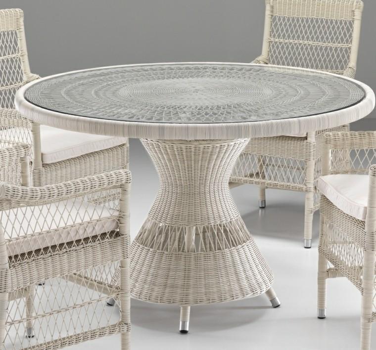 mesa rattan blanco ideas jardin moderno bonito