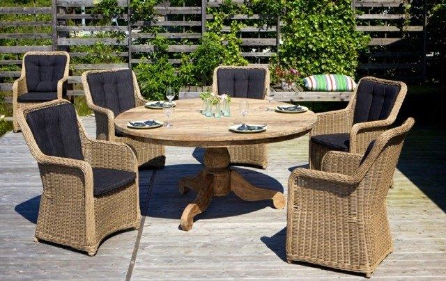 mesa redonda sillas comodas teca moderna