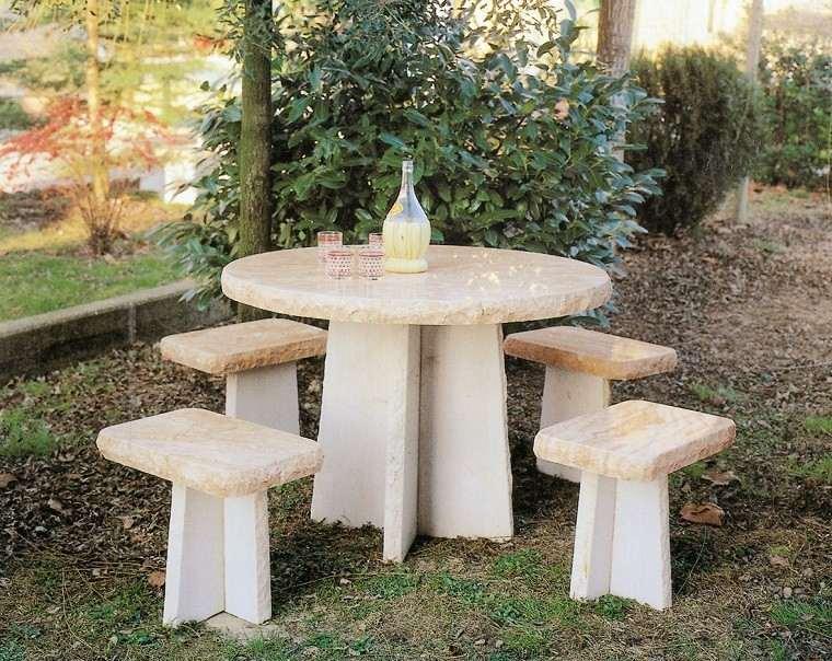 mesa forma redonda sillas jardin ideas marmol