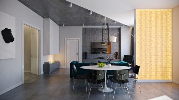 mesa redonda blanca sillas negras
