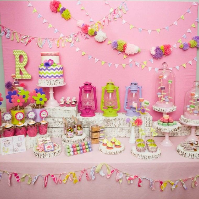 mesa rosa dulces ideas decoracion mesa pared chica fiesta