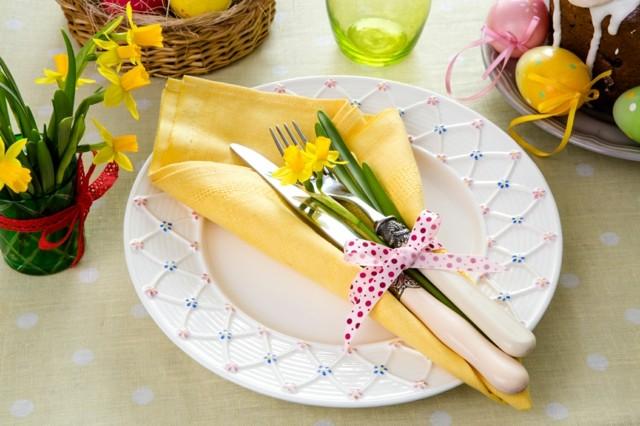la primavera mesa servilleta amarilla lazo flores moderna ideas