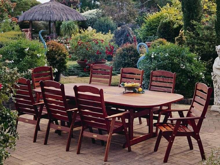 mesa sillas teca material resistente ideas jardin moderno plantas