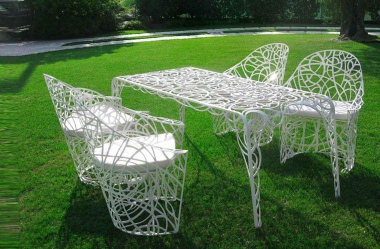 mesas acero blanco sillas ideas estilo vintage ideas jardin