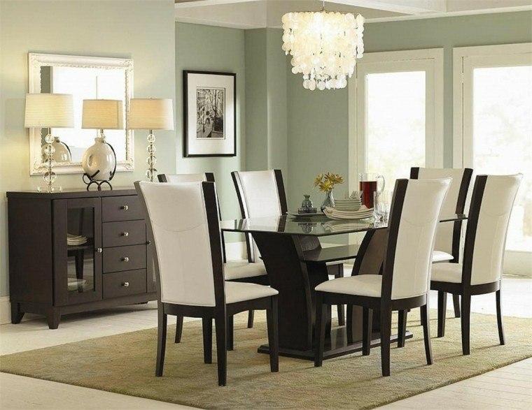 mesas de comedor cristal soporte madera sillas