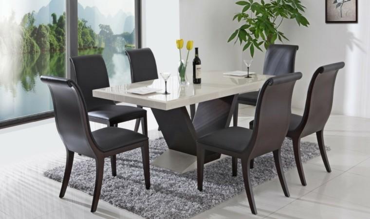 mesas de comedor marmol blanco sillas modernas cuero