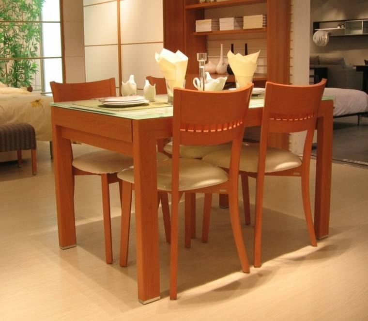 mesas de comedor narranja madera tope ideas cristal