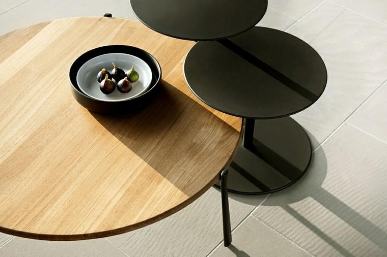 mesas distinto tamaño forma circular matrial madera modernas