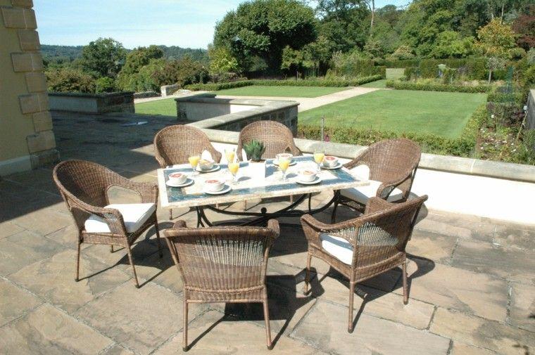 mesas jardin muebles pies acero encimera resistente marmol