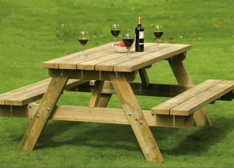 mesas madera bancos estilo clasico ideas originales jardin