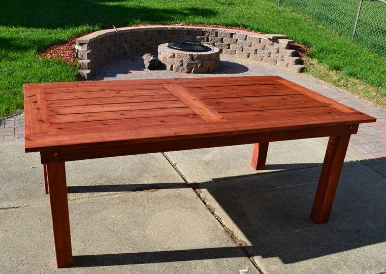 mesas madera resistente clasico diseno sencillo jardin ideas