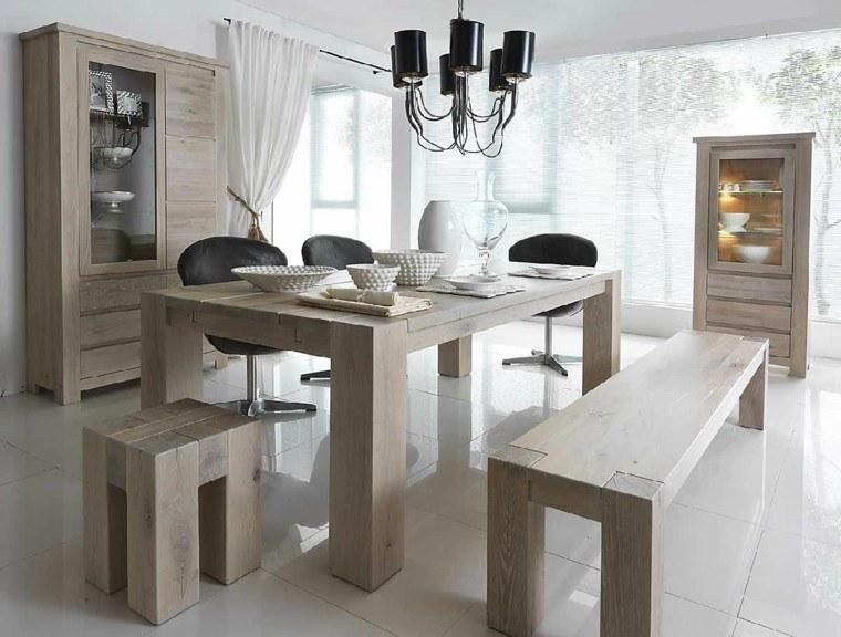 mesas madera sillas cuero negro banco madera