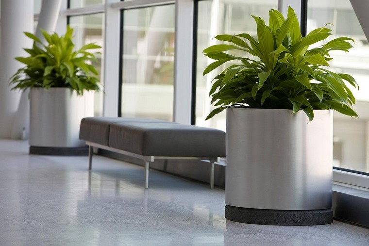 metal acero publico espacio banca cilindricas