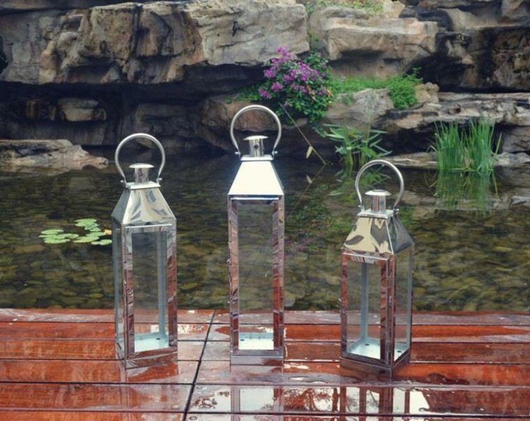 metal linternas estanque decoracion acero