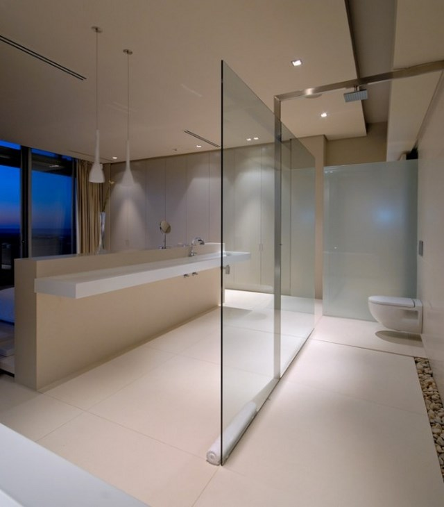 minimalista moderno baño led cristal