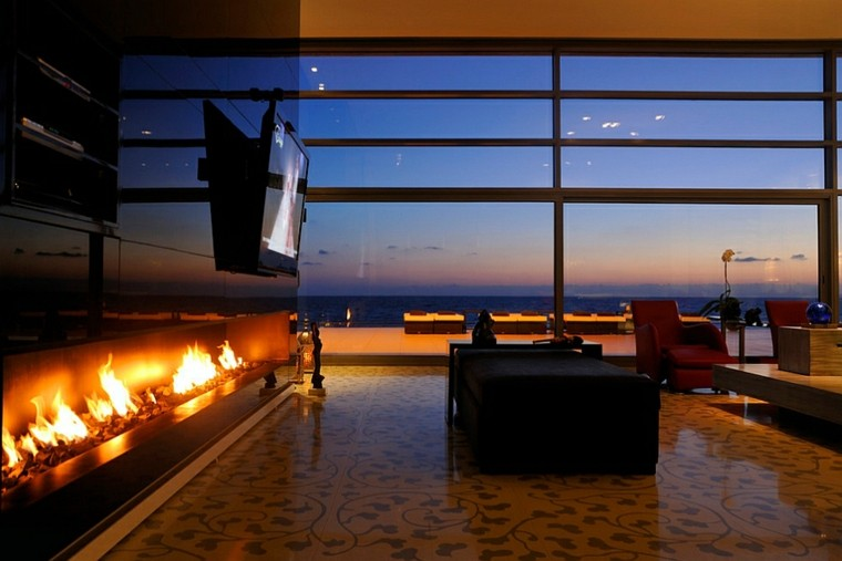 minimalista salon masculino moderno fuego