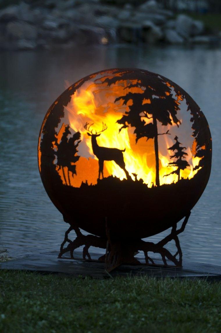 mobiliario de jardín fuego metal decorativo