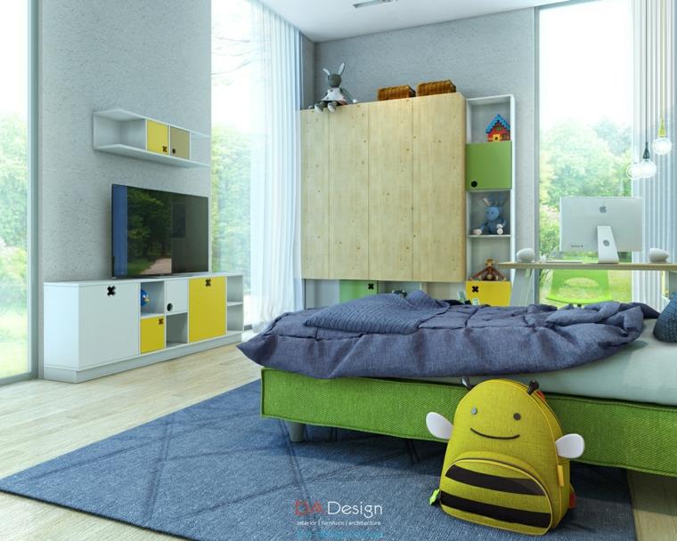 mochila abejita amarilla cama verde