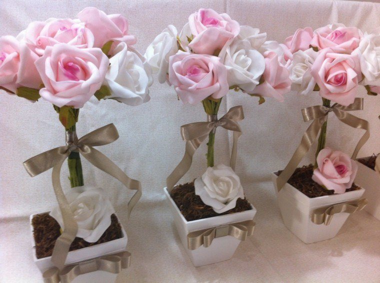modelo rosa maceta flores lazos ideas