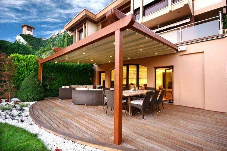 moderna pérgola jardín porche madera