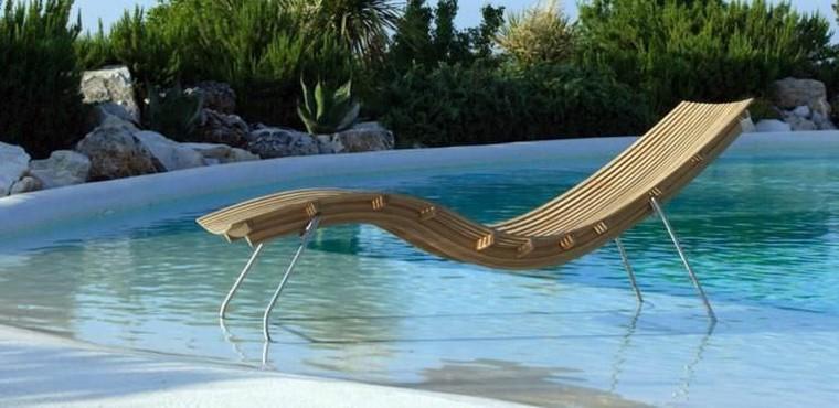 moderna tumbona piscina madera teca