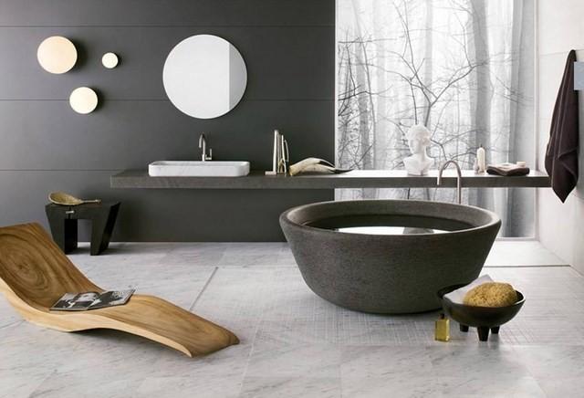 moderno bañera madera espejos jardin