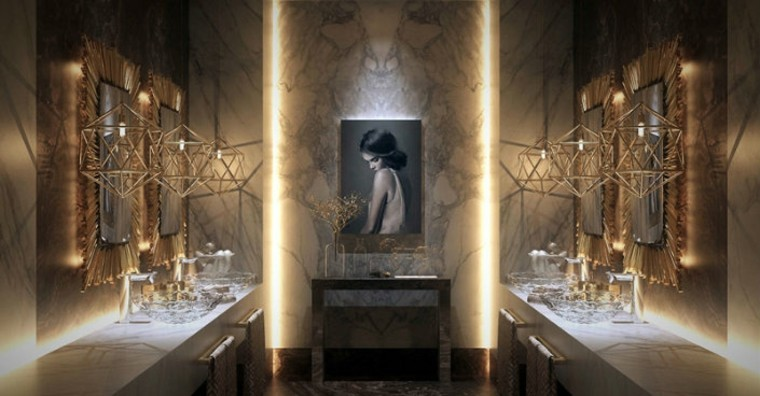moderno baño luces mujer ideas lamparas